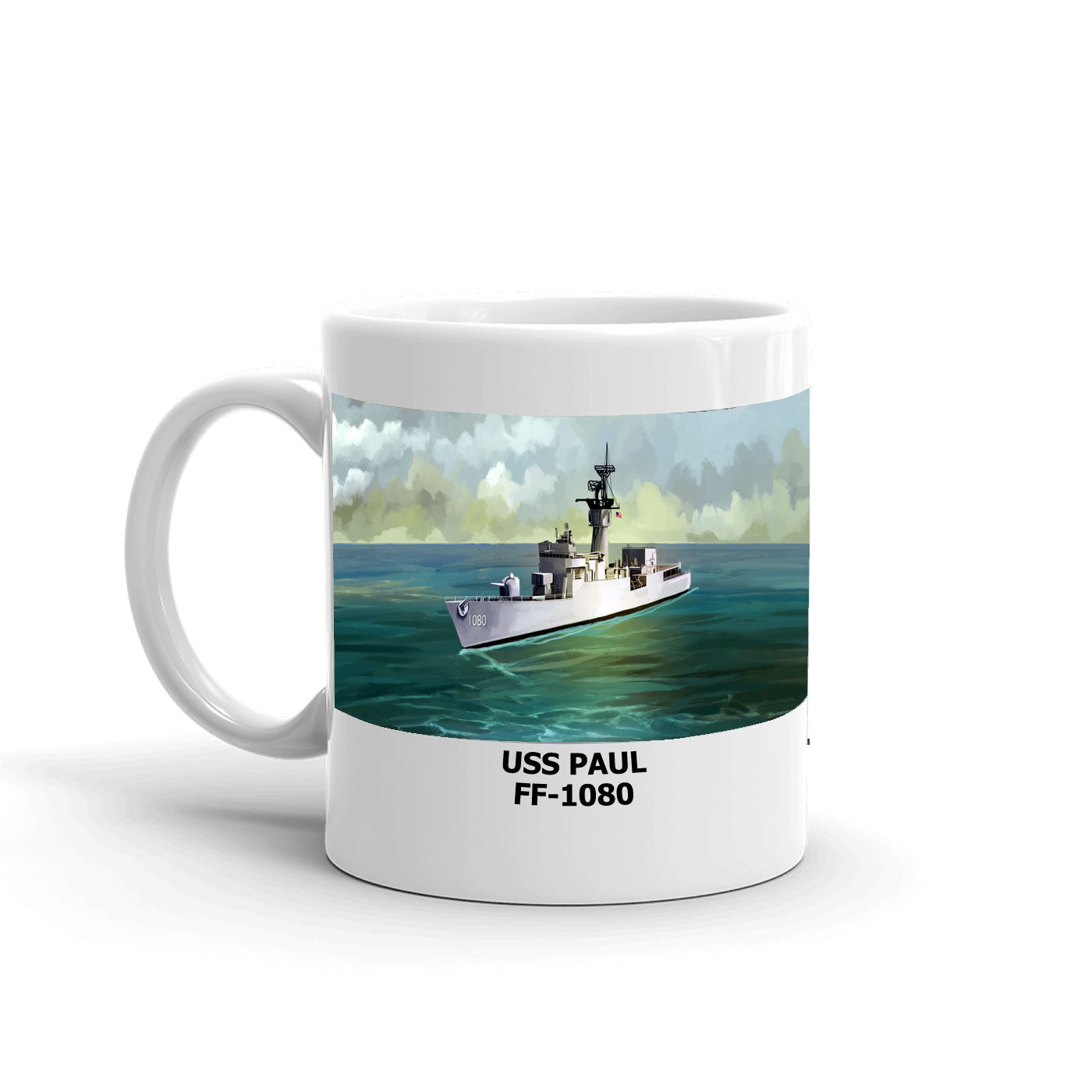 USS Paul FF-1080 Coffee Cup Mug Left Handle