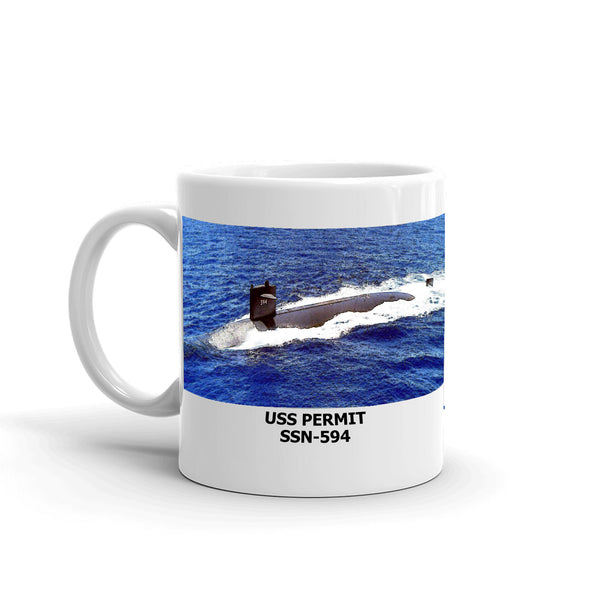 USS Permit SSN-594 Coffee Cup Mug Left Handle