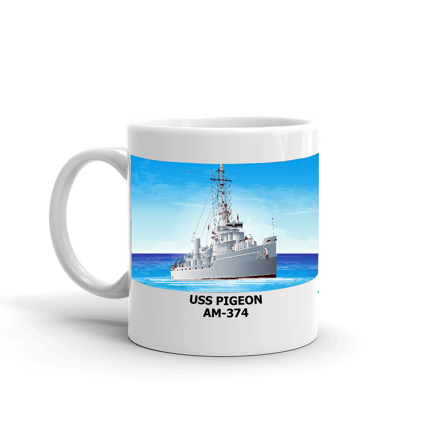 USS Pigeon AM-374 Coffee Cup Mug Left Handle