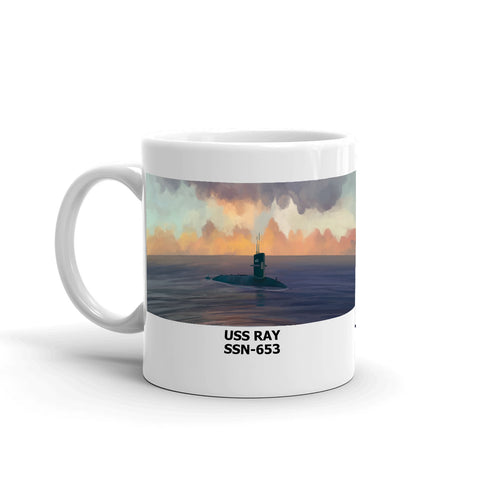 USS Ray SSN-653 Coffee Cup Mug Left Handle