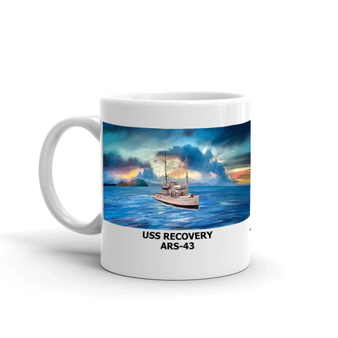 USS Recovery ARS-43 Coffee Cup Mug Left Handle