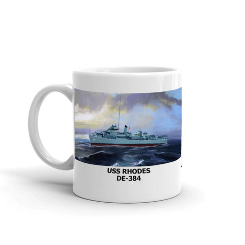 USS Rhodes DE-384 Coffee Cup Mug Left Handle