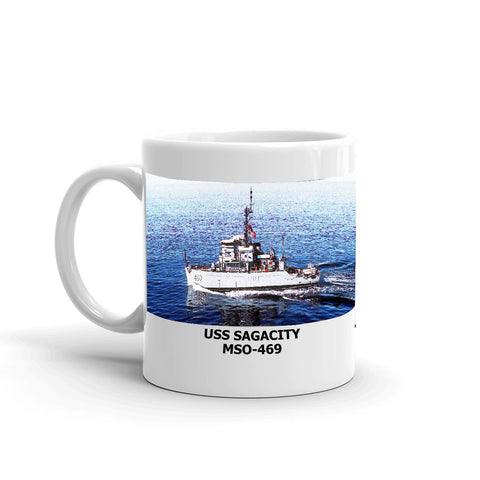 USS Sagacity MSO-469 Coffee Cup Mug Left Handle