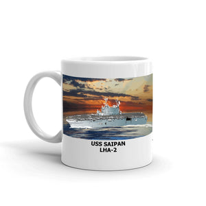 USS Saipan LHA-2 Coffee Cup Mug Left Handle