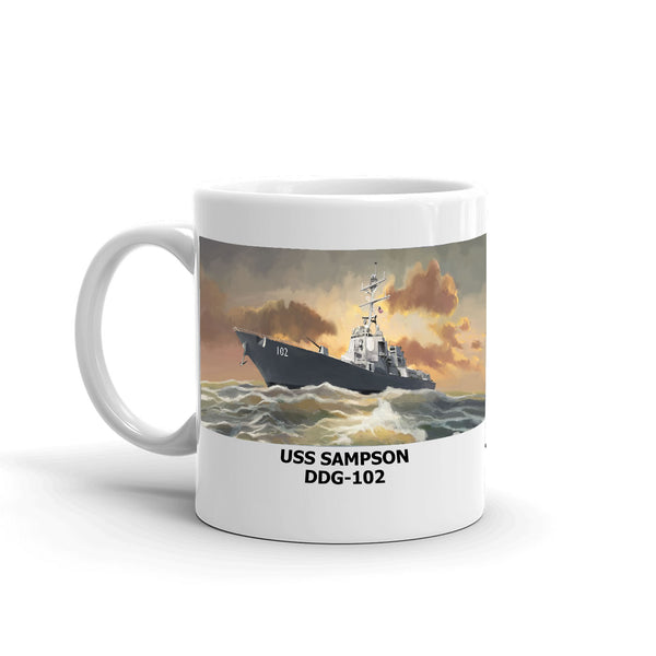 USS Sampson DDG-102 Coffee Cup Mug Left Handle