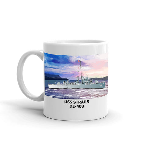 USS Straus DE-408 Coffee Cup Mug Left Handle
