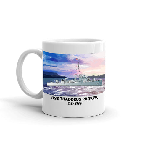 USS Thaddeus Parker DE-369 Coffee Cup Mug Left Handle