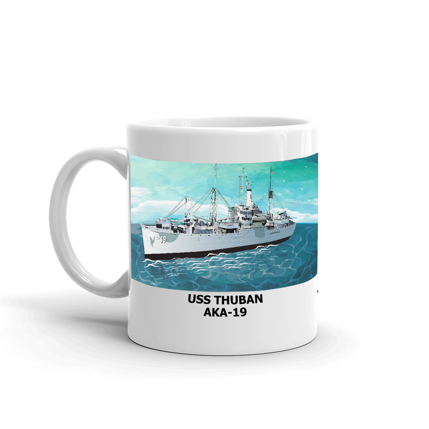 USS Thuban AKA-19 Coffee Cup Mug Left Handle