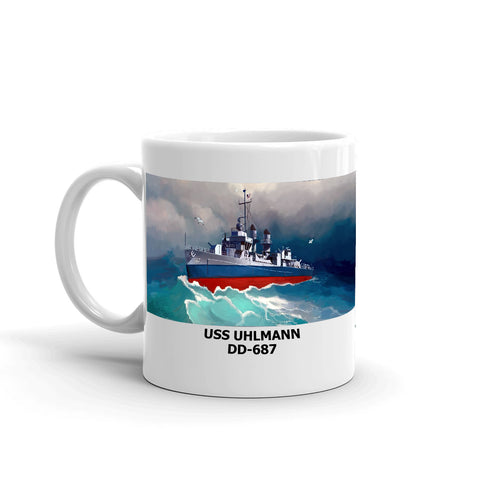 USS Uhlmann DD-687 Coffee Cup Mug Left Handle