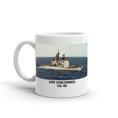 USS Vincennes CG-49 Coffee Cup Mug Left Handle