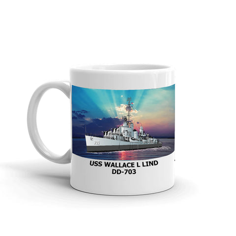 USS Wallace L Lind DD-703 Coffee Cup Mug Left Handle