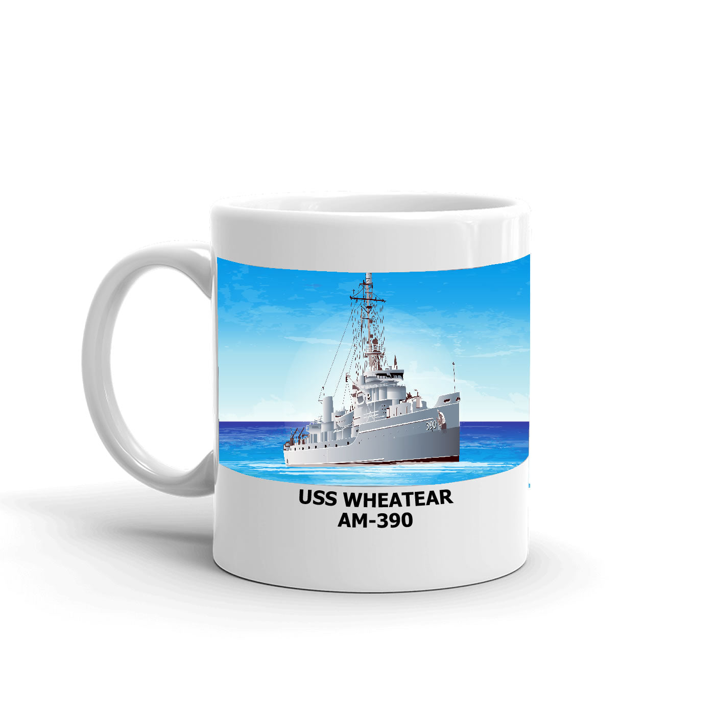 USS Wheatear AM-390 Coffee Cup Mug Left Handle