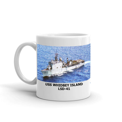 USS Whidbey Island LSD-41 Coffee Cup Mug Left Handle