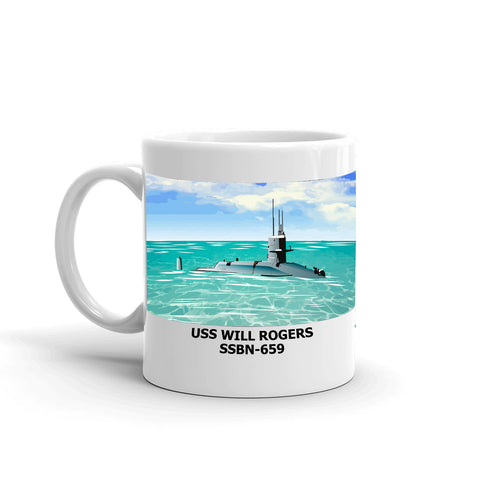 USS Will Rogers SSBN-659 Coffee Cup Mug Left Handle