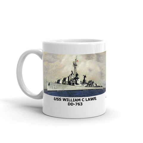 USS William C Lawe DD-763 Coffee Cup Mug Left Handle