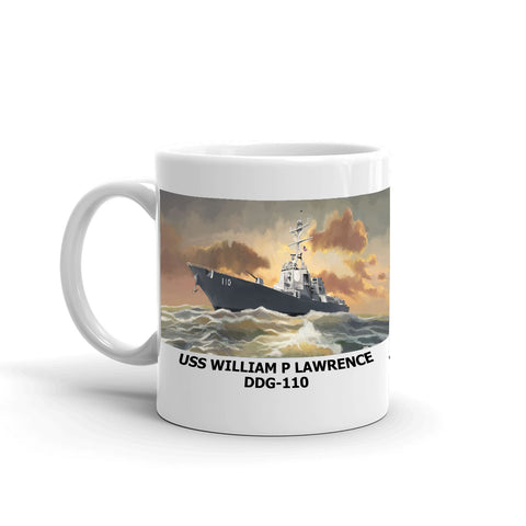 USS William P Lawrence DDG-110 Coffee Cup Mug Left Handle