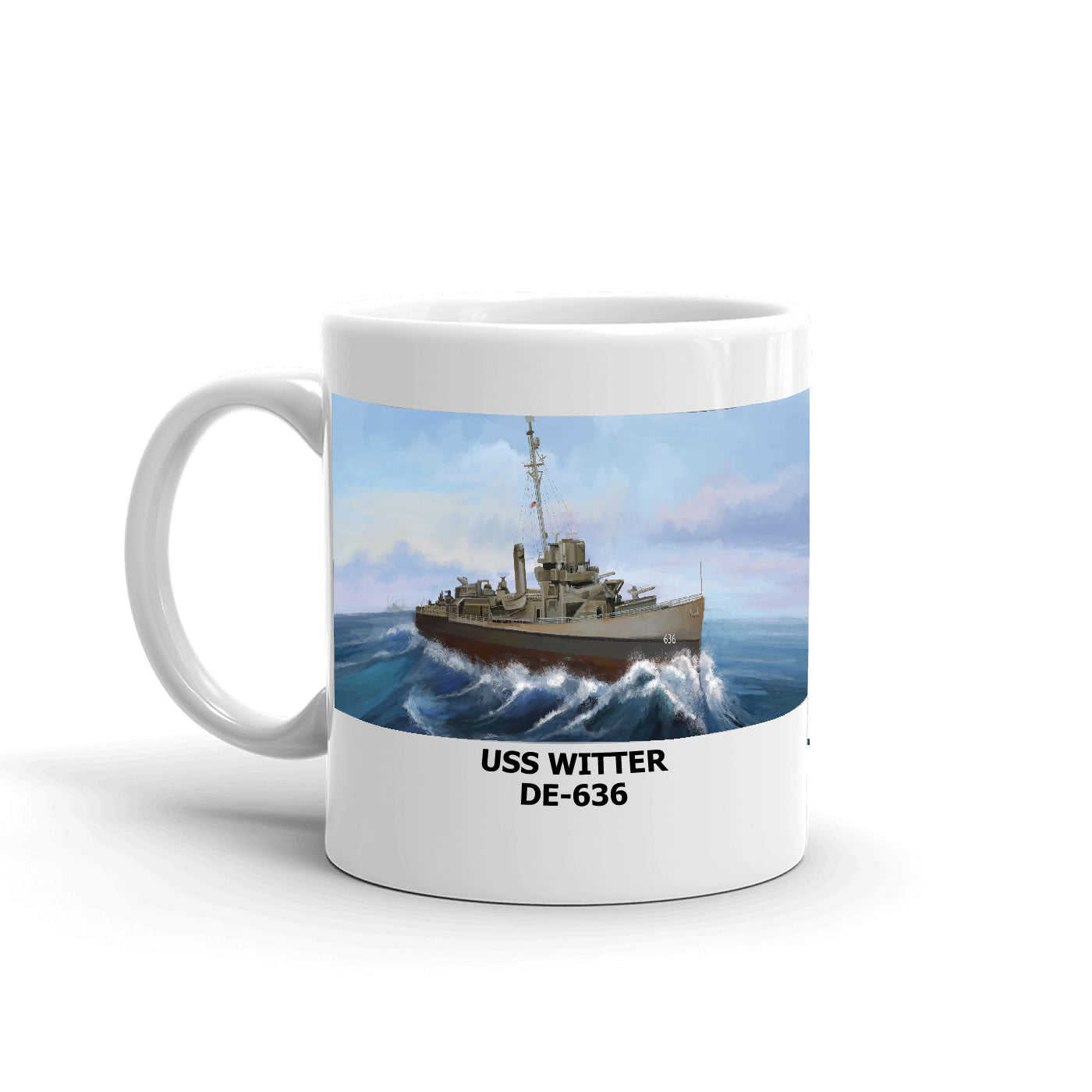 USS Witter DE-636 Coffee Cup Mug Left Handle