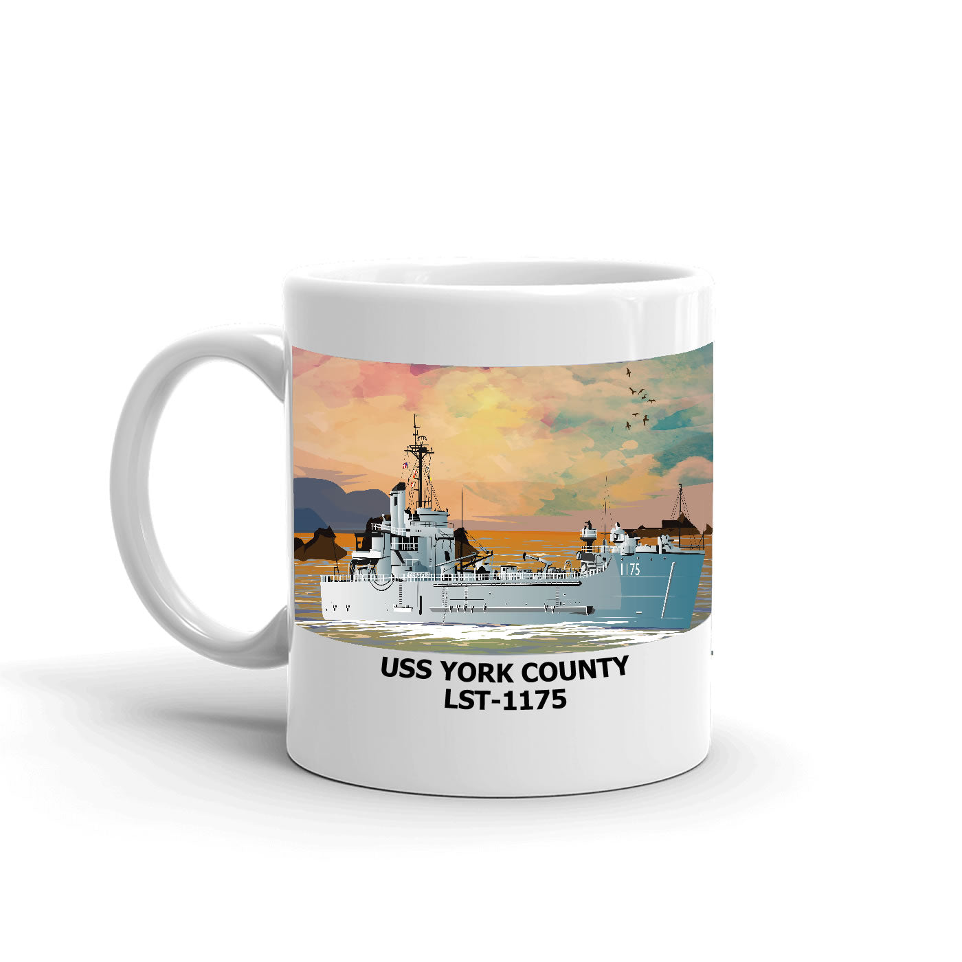 USS York County LST-1175 Coffee Cup Mug Left Handle
