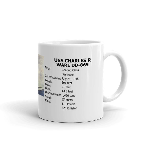 USS Charles R Ware DD-865 Coffee Cup Mug Right Handle