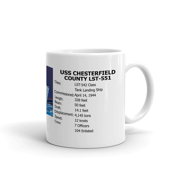 USS Chesterfield County LST-551 Coffee Cup Mug Right Handle