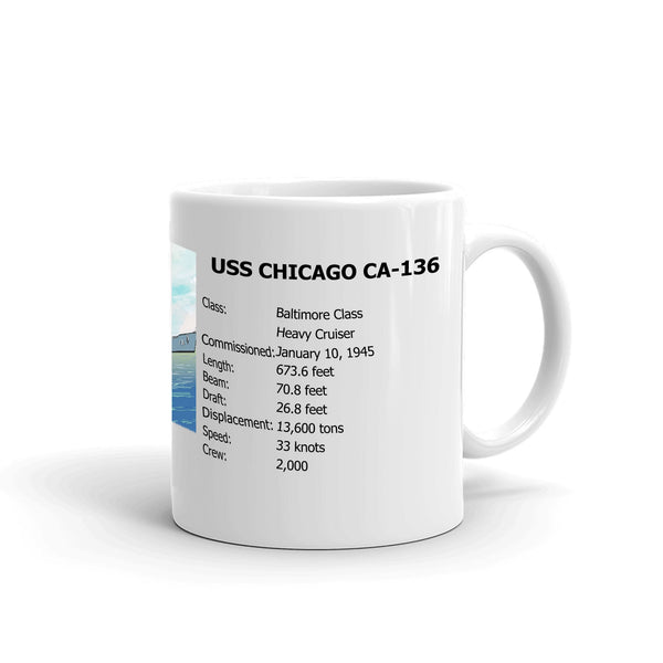 USS Chicago CA-136 Coffee Cup Mug Right Handle