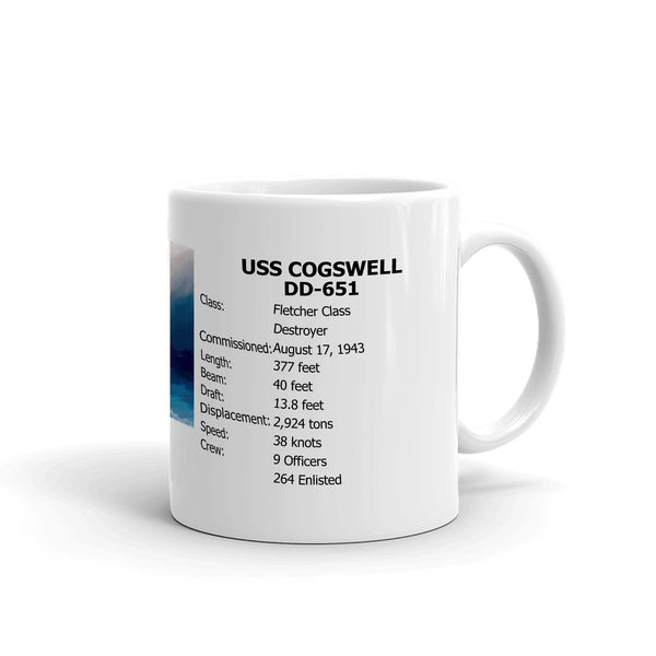 USS Cogswell DD-651 Coffee Cup Mug Right Handle