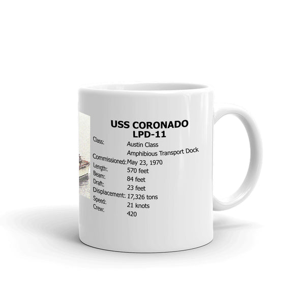 USS Coronado LPD-11 Coffee Cup Mug Right Handle