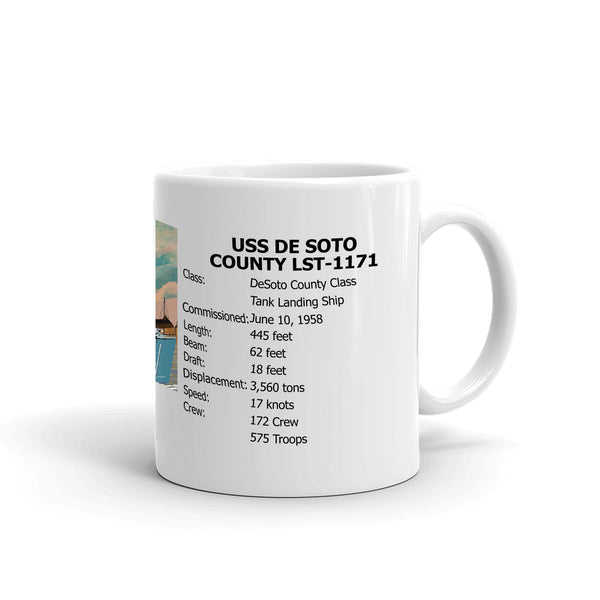USS De Soto County LST-1171 Coffee Cup Mug Right Handle