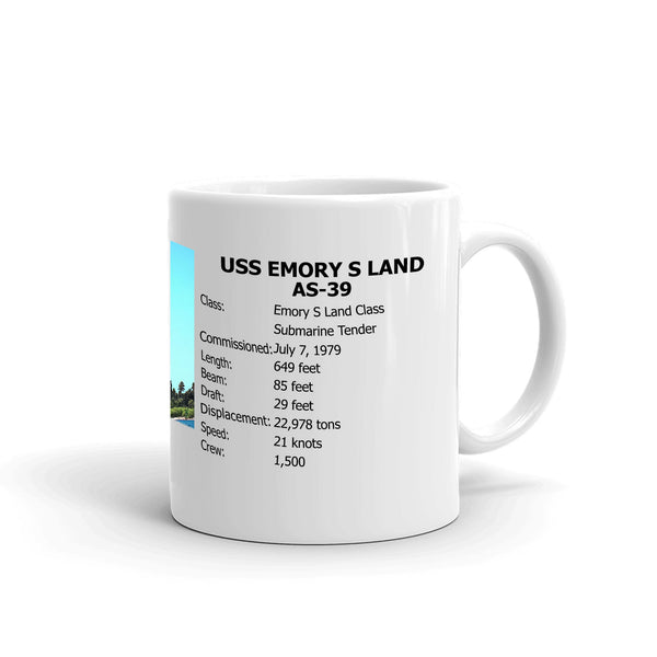 USS Emory S Land AS-39 Coffee Cup Mug Right Handle