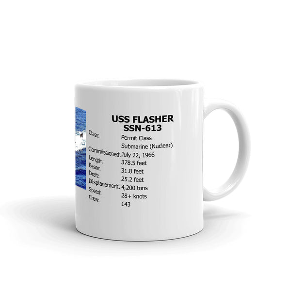 USS Flasher SSN-613 Coffee Cup Mug Right Handle