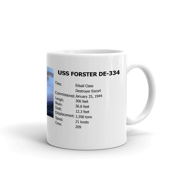 USS Forster DE-334 Coffee Cup Mug Right Handle