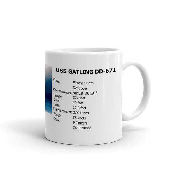 USS Gatling DD-671 Coffee Cup Mug Right Handle