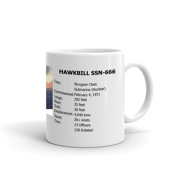 USS Hawkbill SSN-666 Coffee Cup Mug Right Handle