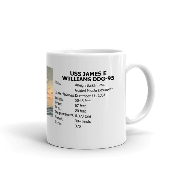 USS James E Williams DDG-95 Coffee Cup Mug Right Handle