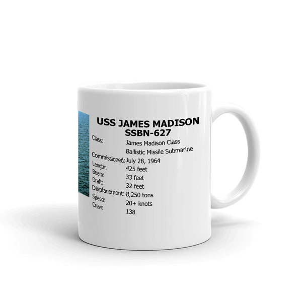 USS James Madison SSBN-627 Coffee Cup Mug Right Handle