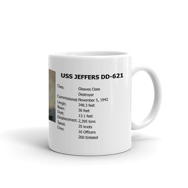USS Jeffers DD-621 Coffee Cup Mug Right Handle