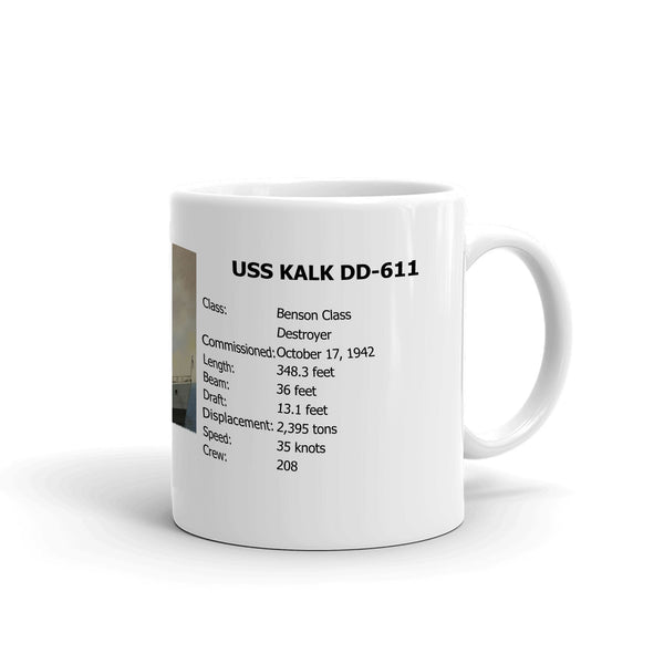 USS Kalk DD-611 Coffee Cup Mug Right Handle