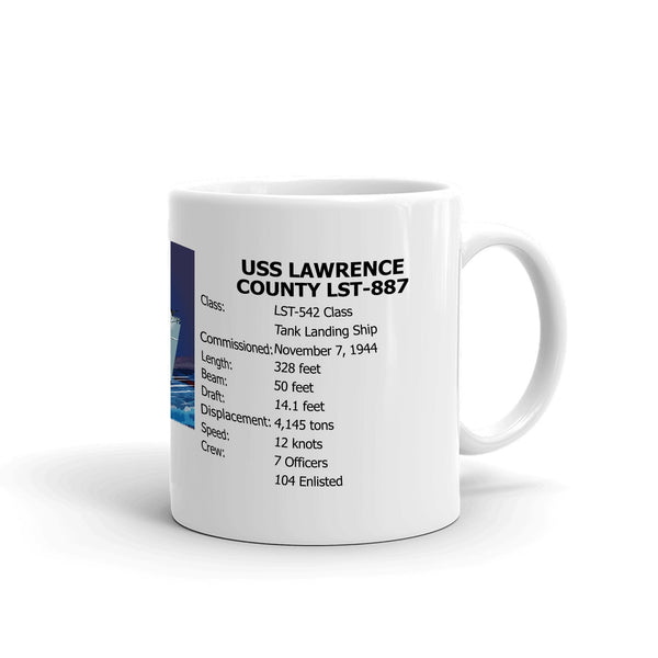 USS Lawrence County LST-887 Coffee Cup Mug Right Handle