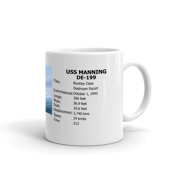 USS Manning DE-199 Coffee Cup Mug Right Handle