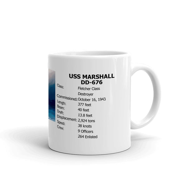 USS Marshall DD-676 Coffee Cup Mug Right Handle