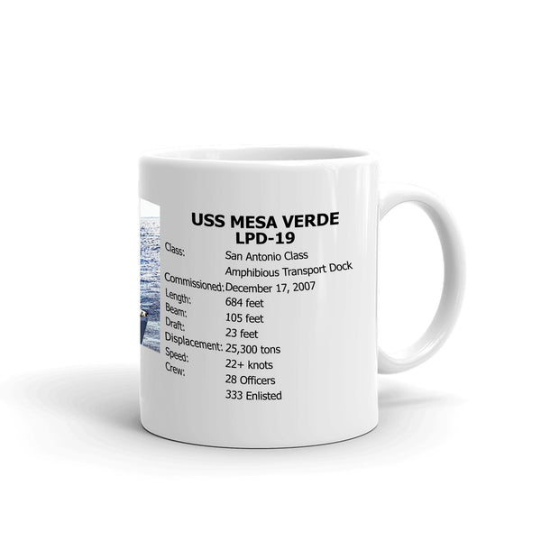 USS Mesa Verde LPD-19 Coffee Cup Mug Right Handle