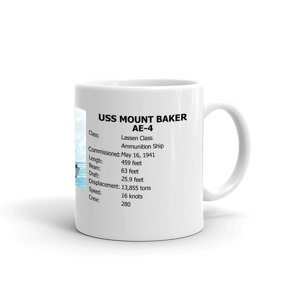 USS Mount Baker AE-4 Coffee Cup Mug Right Handle