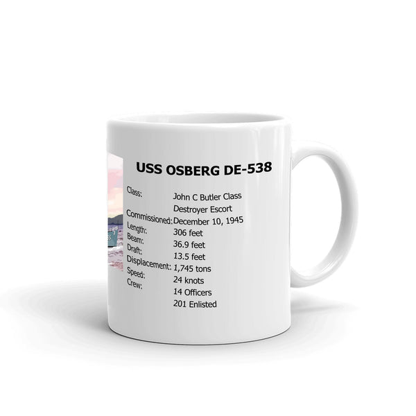 USS Osberg DE-538 Coffee Cup Mug Right Handle
