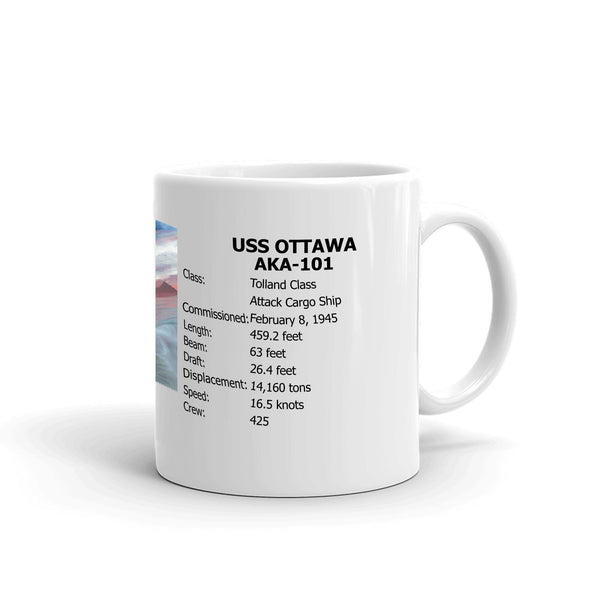 USS Ottawa AKA-101 Coffee Cup Mug Right Handle