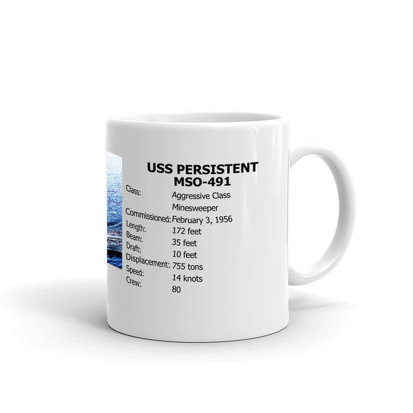 USS Persistent MSO-491 Coffee Cup Mug Right Handle