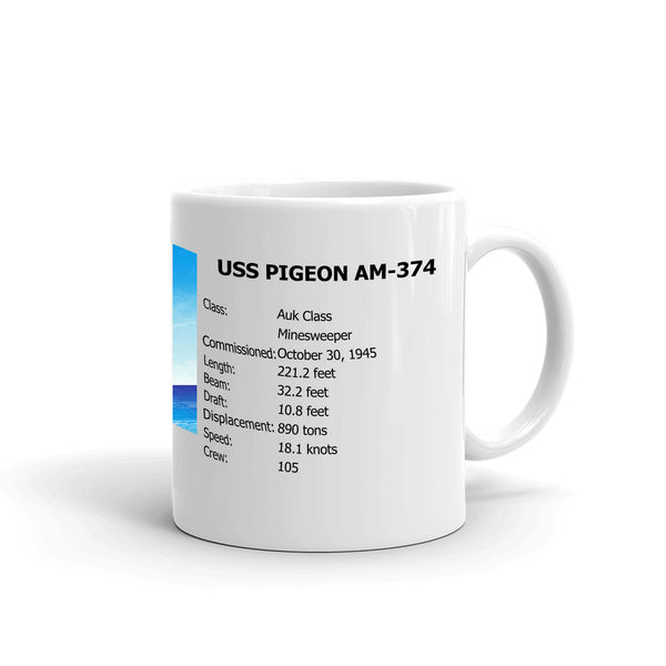 USS Pigeon AM-374 Coffee Cup Mug Right Handle