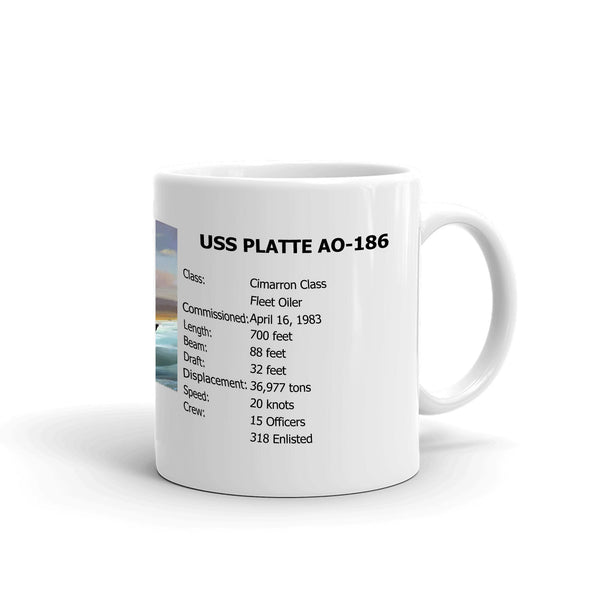 USS Platte AO-186 Coffee Cup Mug Right Handle