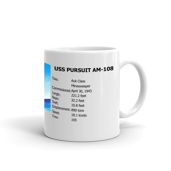 USS Pursuit AM-108 Coffee Cup Mug Right Handle