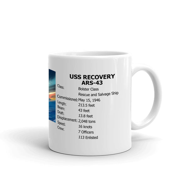 USS Recovery ARS-43 Coffee Cup Mug Right Handle