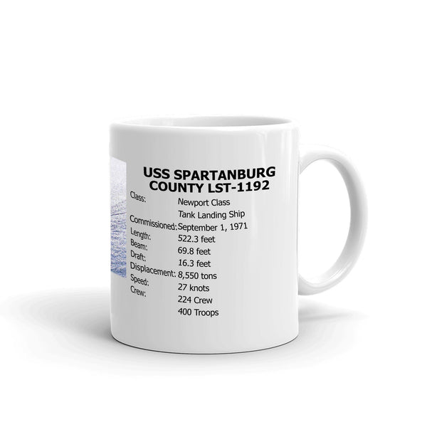 USS Spartanburg County LST-1192 Coffee Cup Mug Right Handle